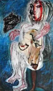 watchman / wachter, mixed media on canvas, 125 x 200 cm