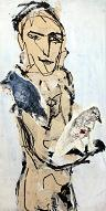 human with birds / mens met vogels, mixed media on wood, 61 x 122 cm