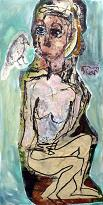 woman with bird / vrouw met vogel, mixed media on canvas, 80 x 160 cm